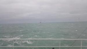 Sturm im Windpark Deutsche Bucht