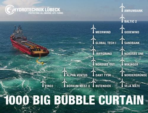 Unterwasser-Schallschutz mit über 1000 Big Bubble Barrier