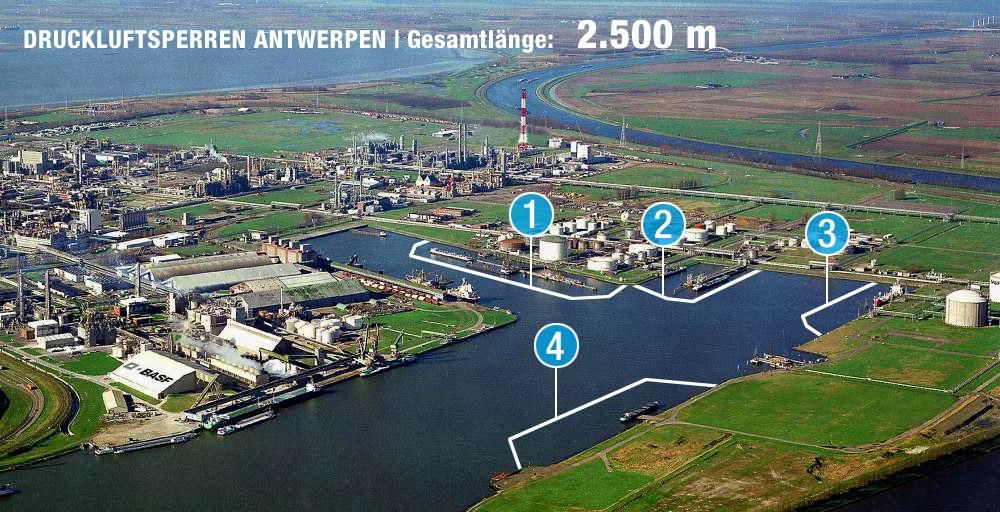 Druckluftsperren BASF Antwerpen Luftbild
