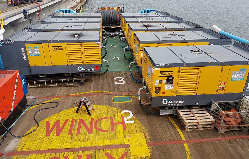 Deck prepared with BIG BUBBLE BARRIER for UXO support for Nord Stream Pipeline